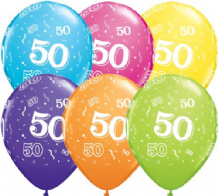 50th Birthday - 11 Inch Balloons 6pcs
